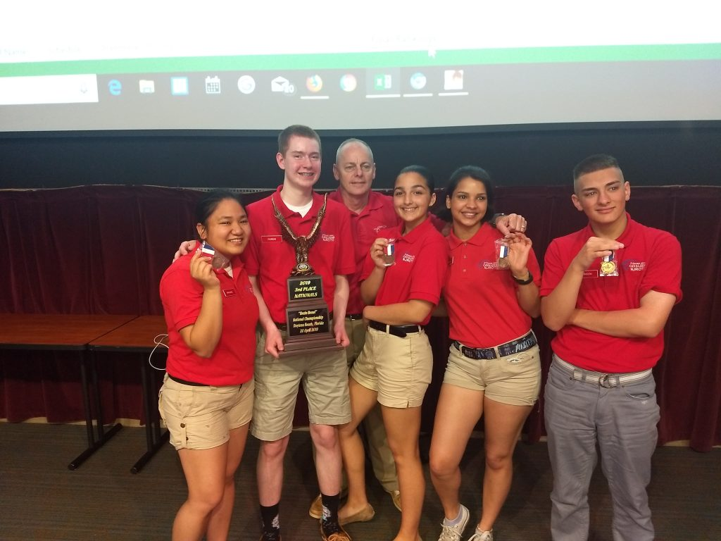 Princess Anne High School's NJROTC team competed against 23 other high schools in the Brain Brawl National Championship held at Embry Riddle Aeronautical University in Dayton Beach, Florida, and placed third.