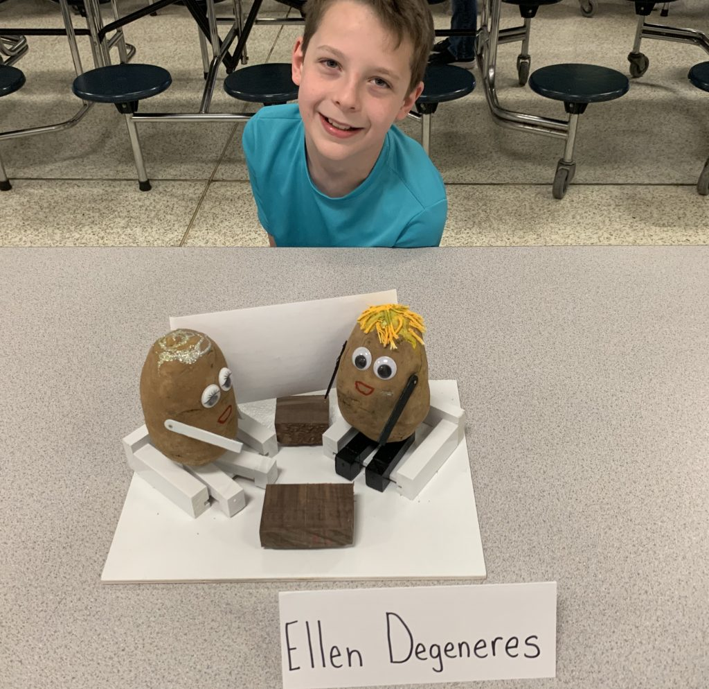 Fourth graders at Providence Elementary completed research on people who have made a positive impact in the world. They created a Potato Head version of their person and presented to other classes and parents. Merrick Mitchell chose Ellen DeGeneres.