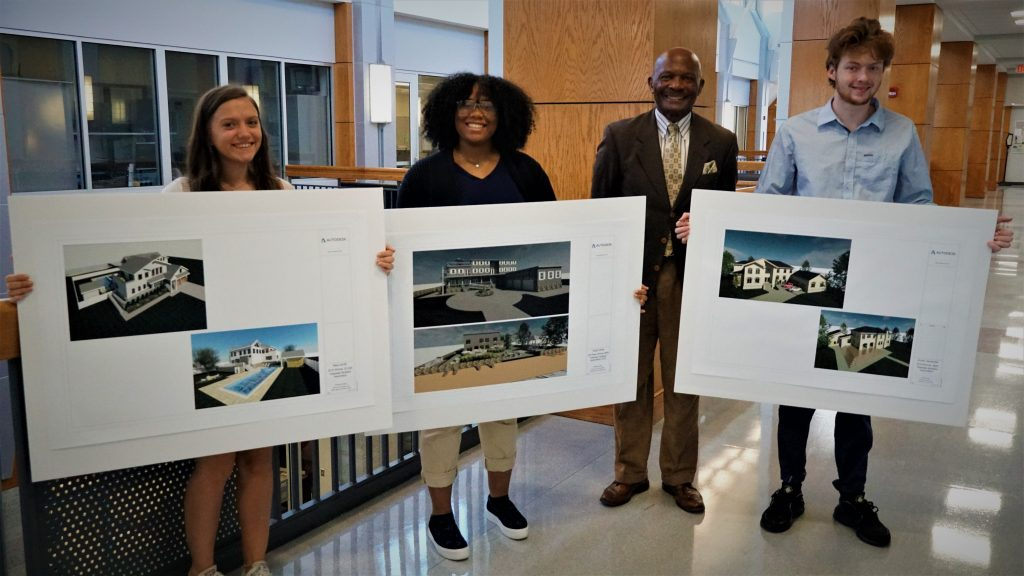 ATC students Maya Smith, Aliyah White and Hunter Haushalter were winnders of the Tidewater Builder's Association Young Designers' Scholarship Competition.