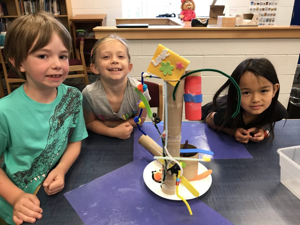Arrowhead Elementary School first graders Clayton Pope, Payton Boorsma, and Juliyana Hollenbach built a tower that the monkeys could climb.