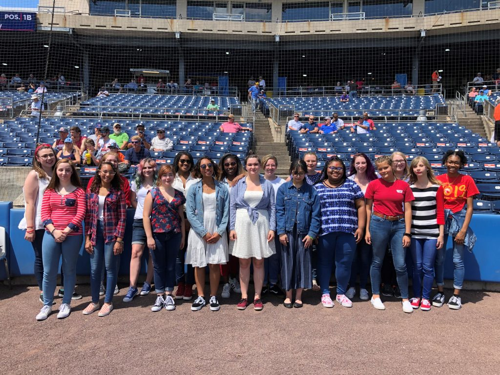 Bayside High School's chorus sang at a Tides game in Norfolk.