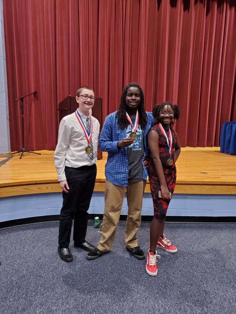 Brandon Middle School had three 1st place winners at the Forensics Championship: Lucas Gordon, Jaelynn Taylor and James Taylor.
