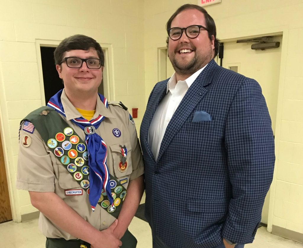 Cox High School Junior Will Jutton, here with English teacher Kyle Goodson, became an Eagle Scout.
