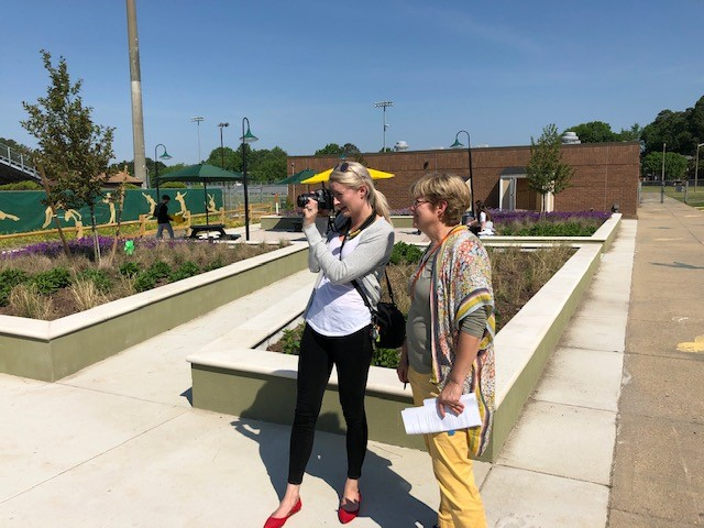 Landscape Architect Nancy Rodrigue and Graphic Design & Photographer Amanda Cross of the American Society of Landscape Architects (ASLA) recently visited Cox High School's newest addition, the Wing.