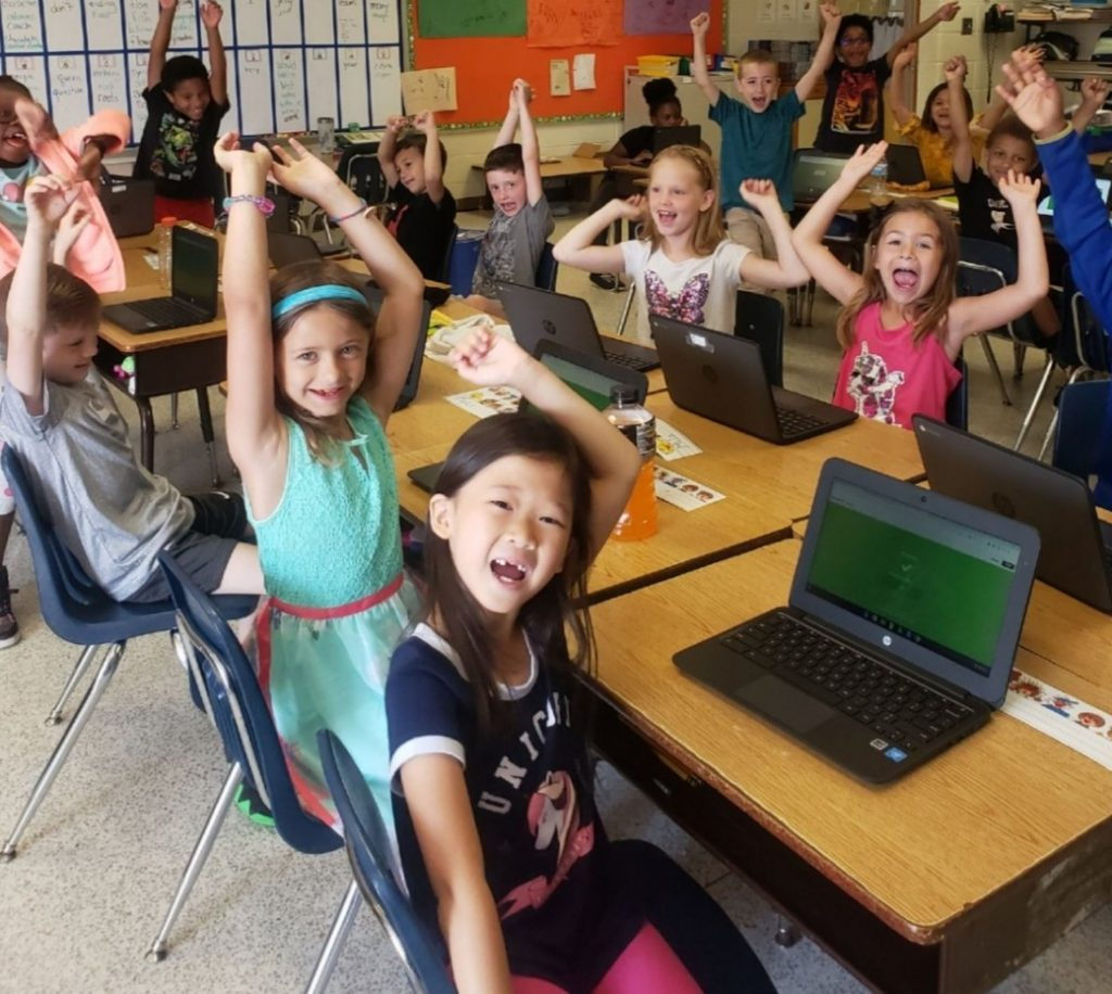Glenwood Elementary first grade students love Kahoot for math review time.