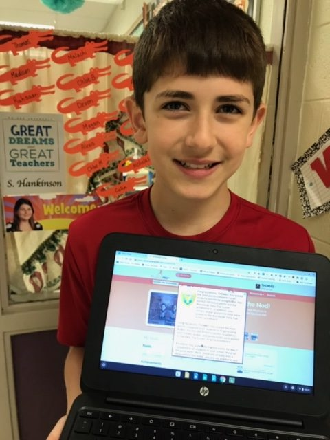 Glenwood Elementary School fourth grader Thomas Brogden III scored the most points WORLDWIDE on Achieve 3000, a digital program that provides nonfiction reading passages and writing exeriences tailored to students' reading levels.