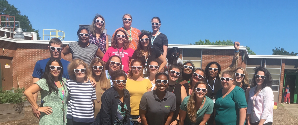 Green Run Elementary staff showed off their VBCPS shades in the learning garden during Teacher Appreciation Week.