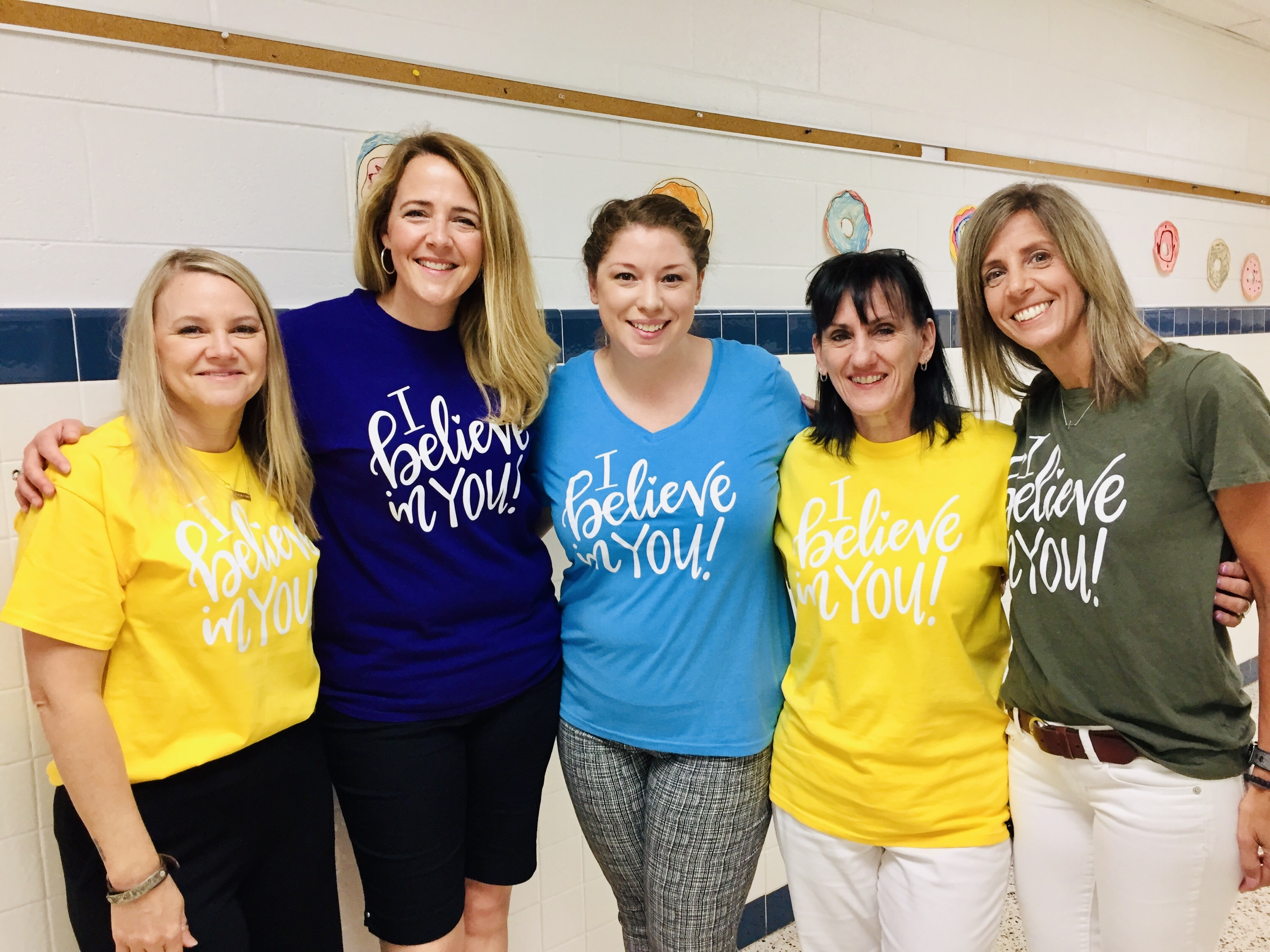 The third grade team at Kempsville Elementary- Jen Lepley, Jennifer Hofler, Meghan Alley, Joy Drumm, and Julie Gray- wore matching shirts supporting their students on the first day of SOL testing.