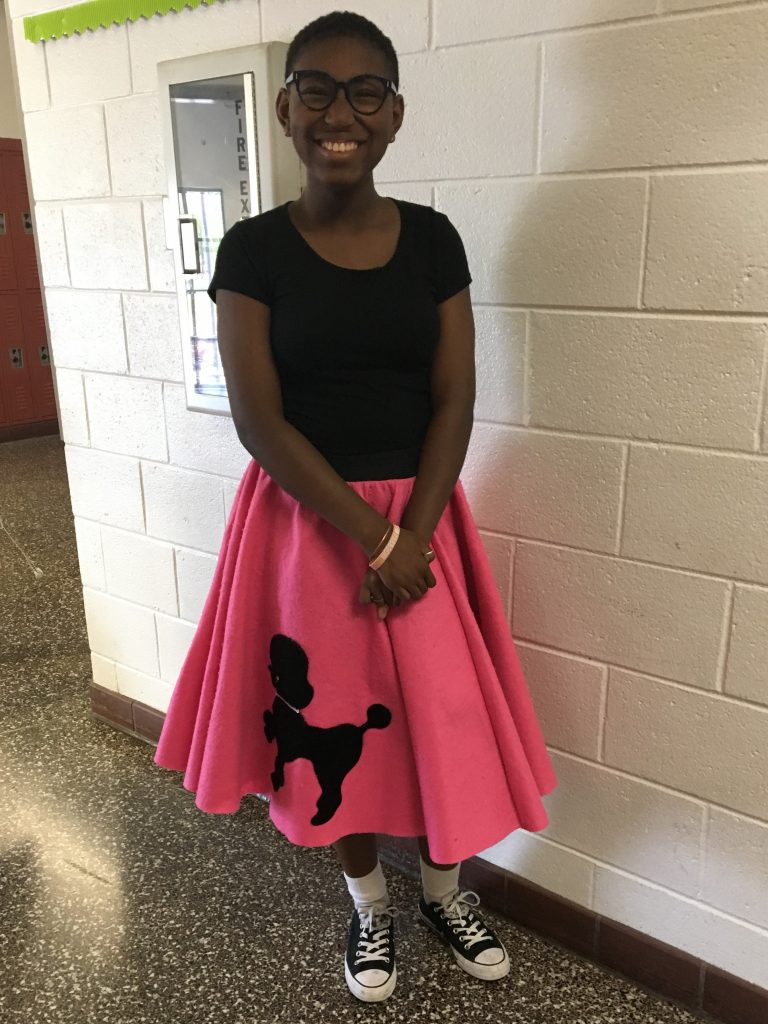 Landstown Middle School seventh grader Lena Rice donned a poodle skirt as her class examined patterns of economic change in the 1950s.