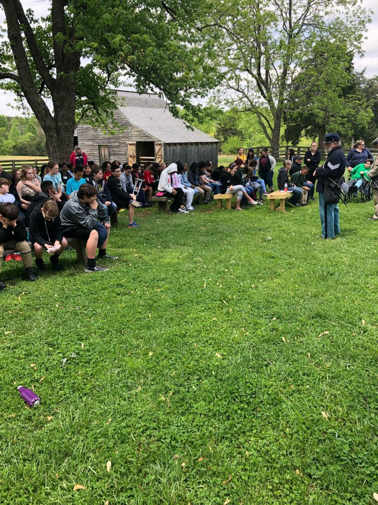 Social Studies teacher Adam Swindell took sixth graders from Lynnhaven Middle to the Appomattox Court House