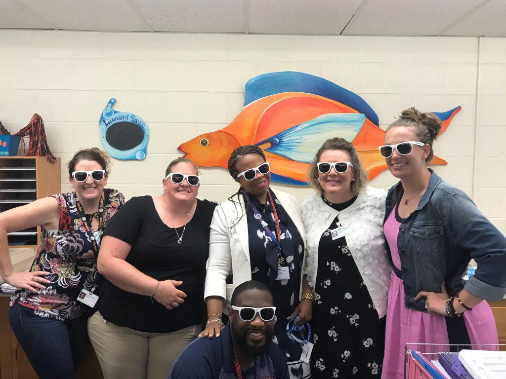 Nina Chadwick, Megan Allen, Tennille Bowser, Javion Hinmon, Michelle McKinney, and Lizzie Brooks from Lynnhaven Middle School showed off their VBCPS shades.