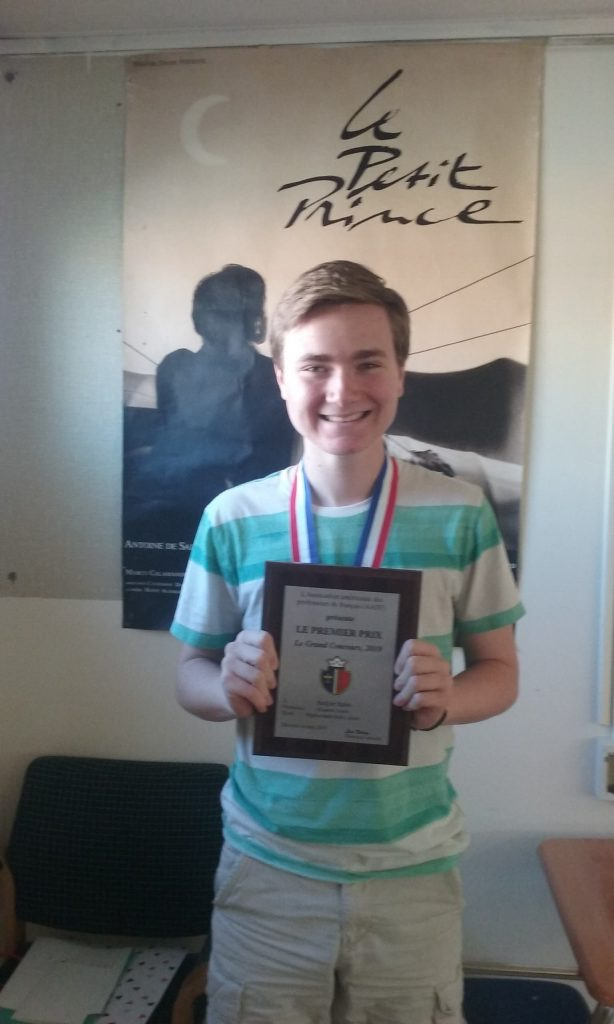 Jackson Kubin, 10th grade student at Princess Anne High School, has ranked 1st nationally in the 84th annual Le Grand Concours, a national competition sponsored by the American Association of Teachers of French.