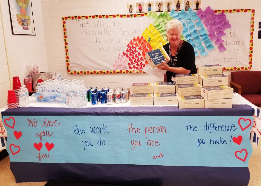 Assistant Principal Laura Yoakam handed out lunches for teachers at White Oaks Elementary School in honor of Teacher Appreciation Week.